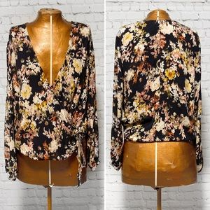 Lovestitch Floral Print Wrap Top EUC